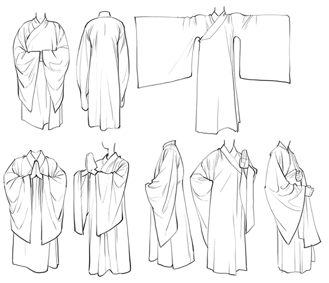 Realizing how many robes i'll have to draw in the near future, decided to do some studies.