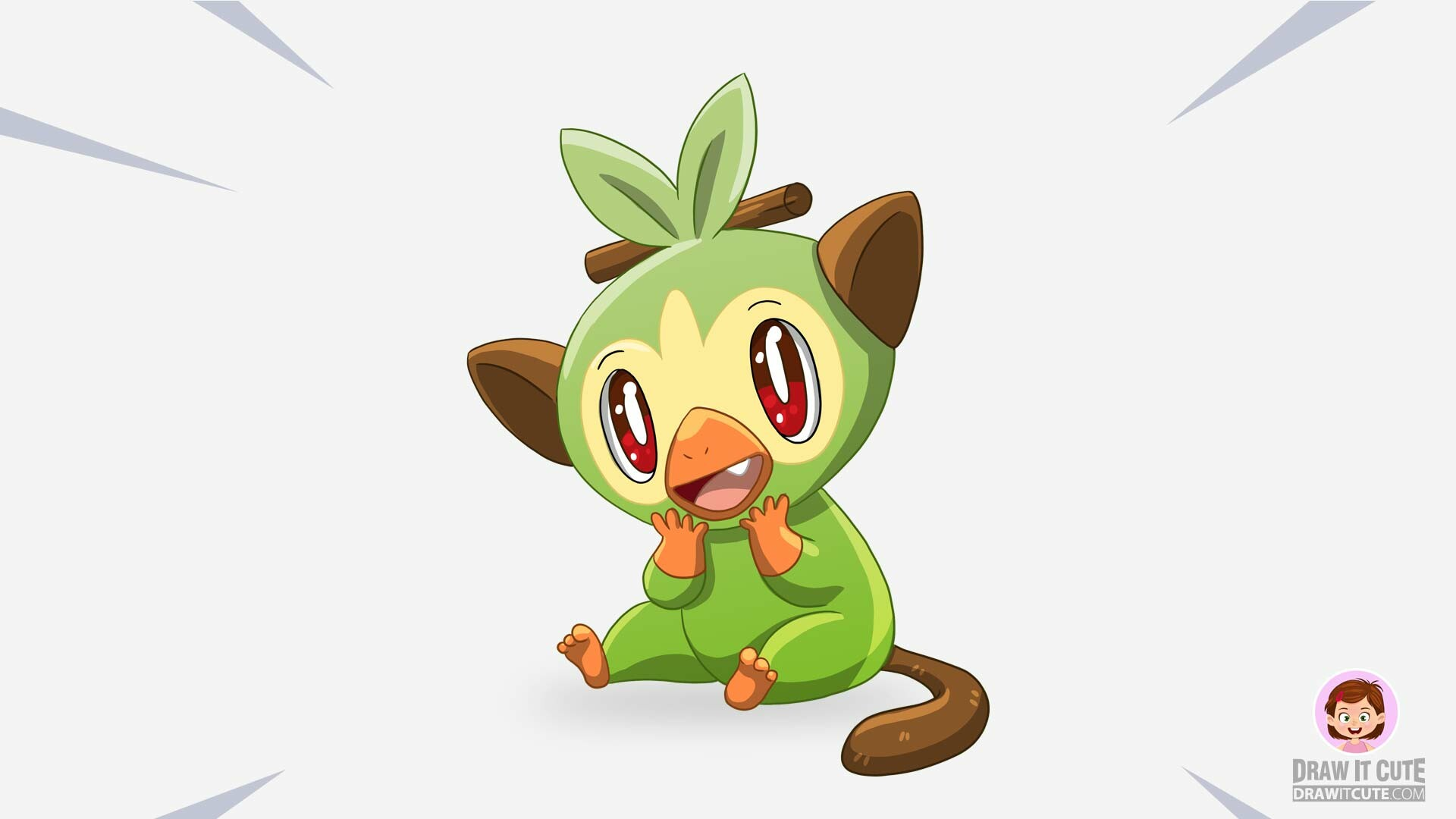 Drawitcute Com How To Draw Grookey Pokemon Super Easy With Coloring Page Video tutorial showing how to draw grookey pokemon. pokemon super easy with coloring page