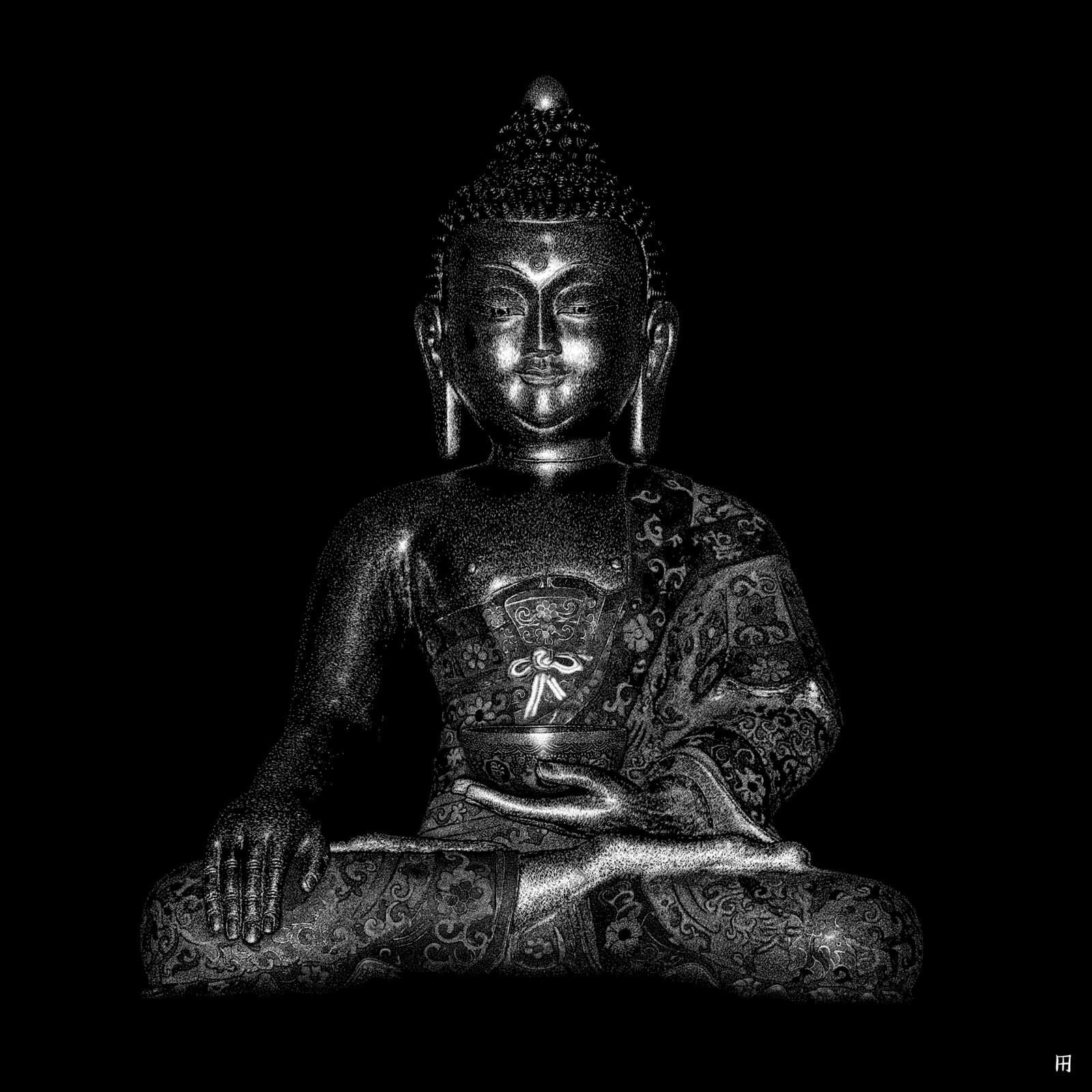 Buddha Digital scratchboard, june 2019