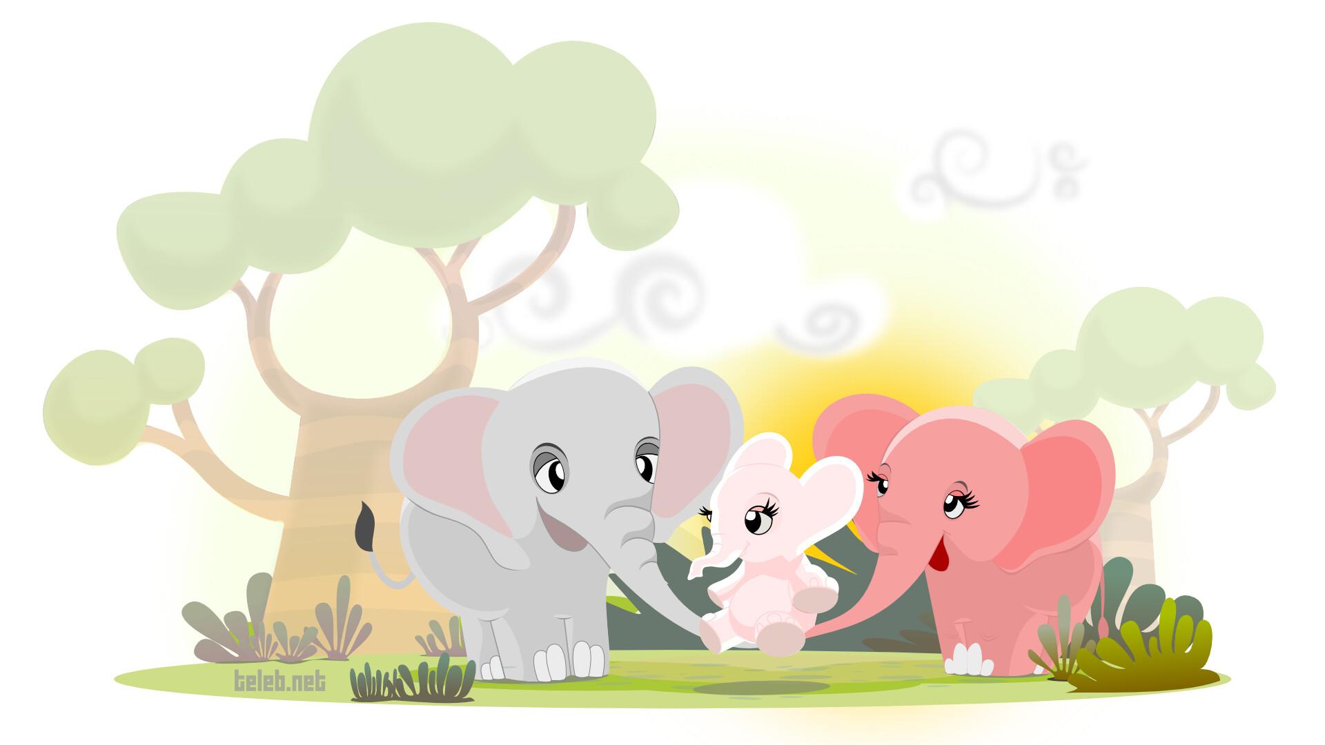 картинки мультяшных слонов семья липовая аллея