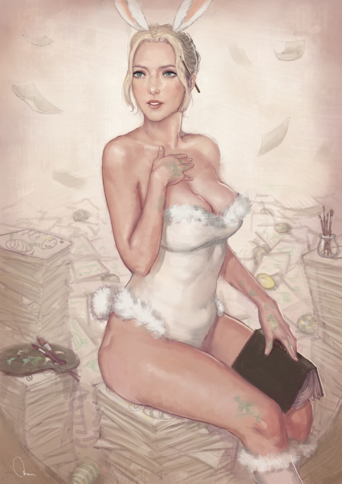Easter bunny pin up
