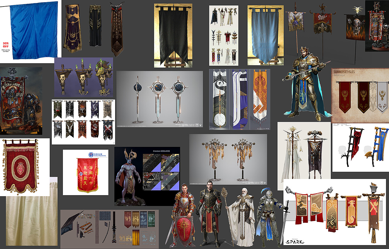 Moodboard for Sir Yvain's Banner. The knight with a pet lion!