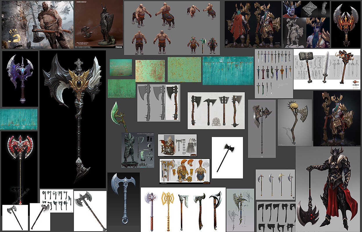 Moodboard for the Green Knight's Axe.
