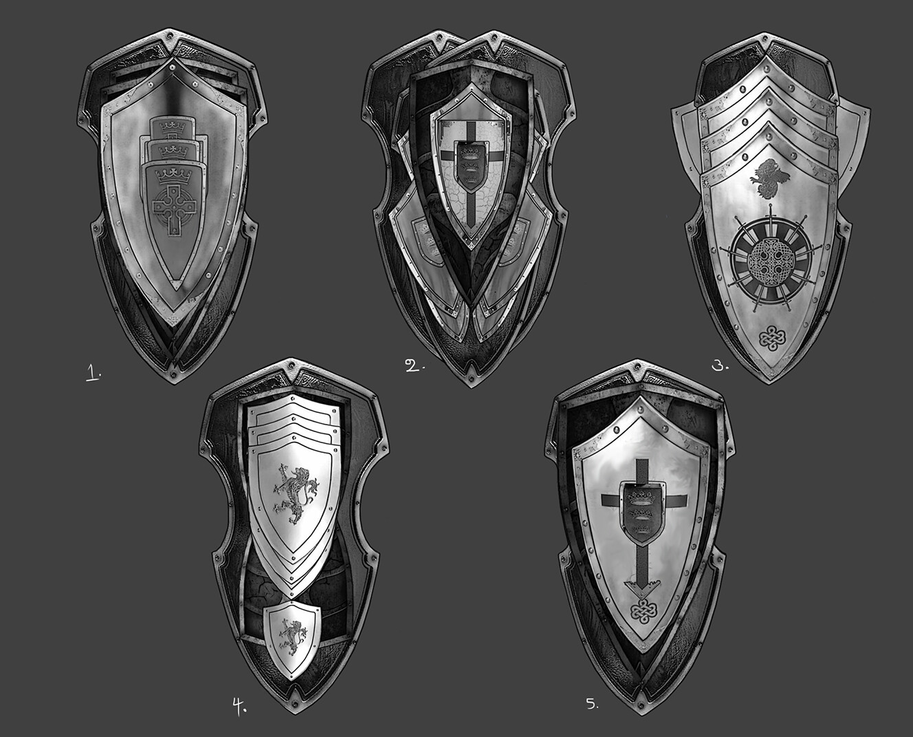 Shield concept variations photobashed and painted over to blend.
