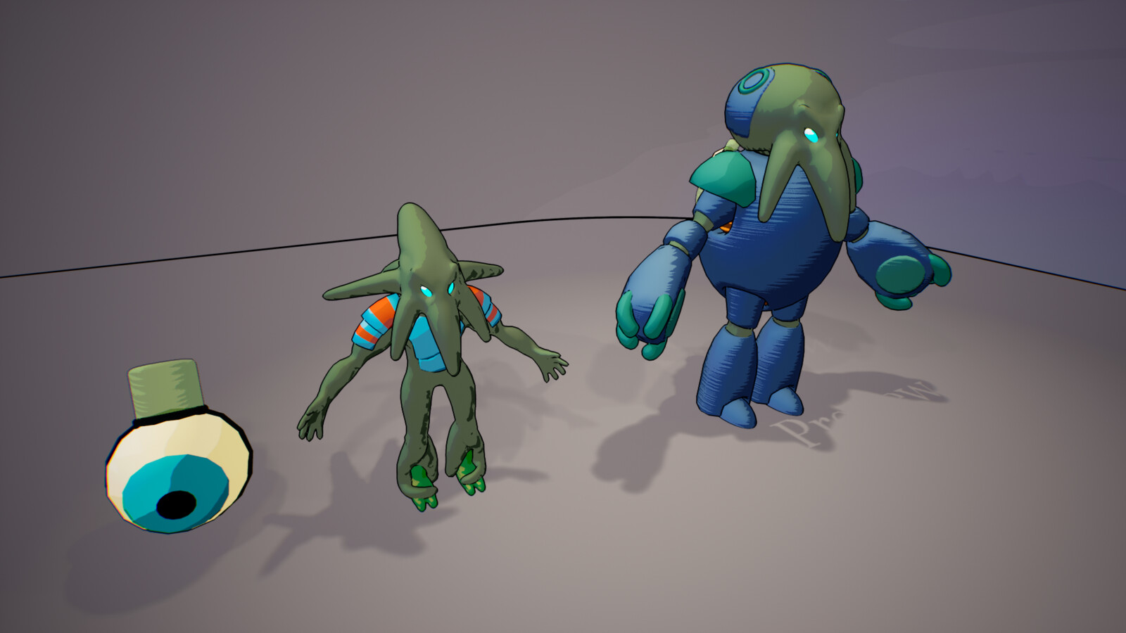 Enemy humanoid models are rigged for use by animators