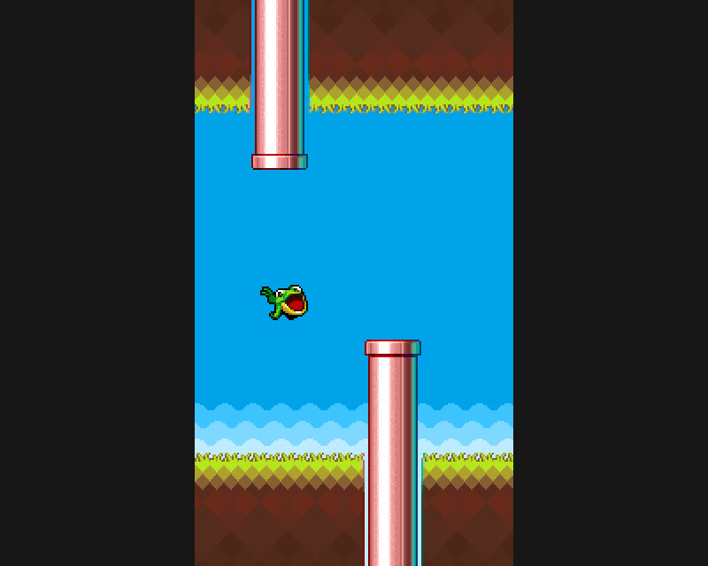 Mock-up of the Flappy Froggy game with updated graphics (2017)