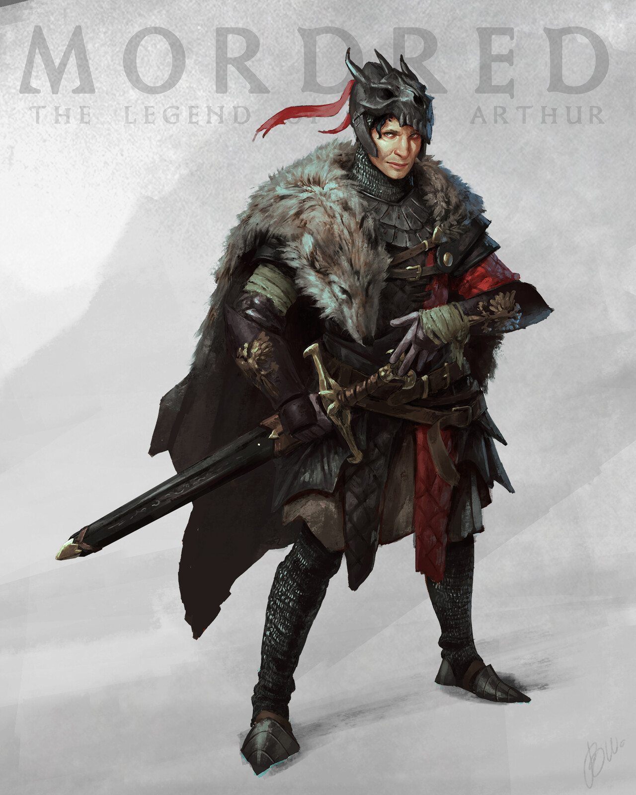 I visualised Mordred's treacherous character by using lots of black and red, pointy shapes and the wolf pelt and pendragon skull. Also the insidious look on his face.