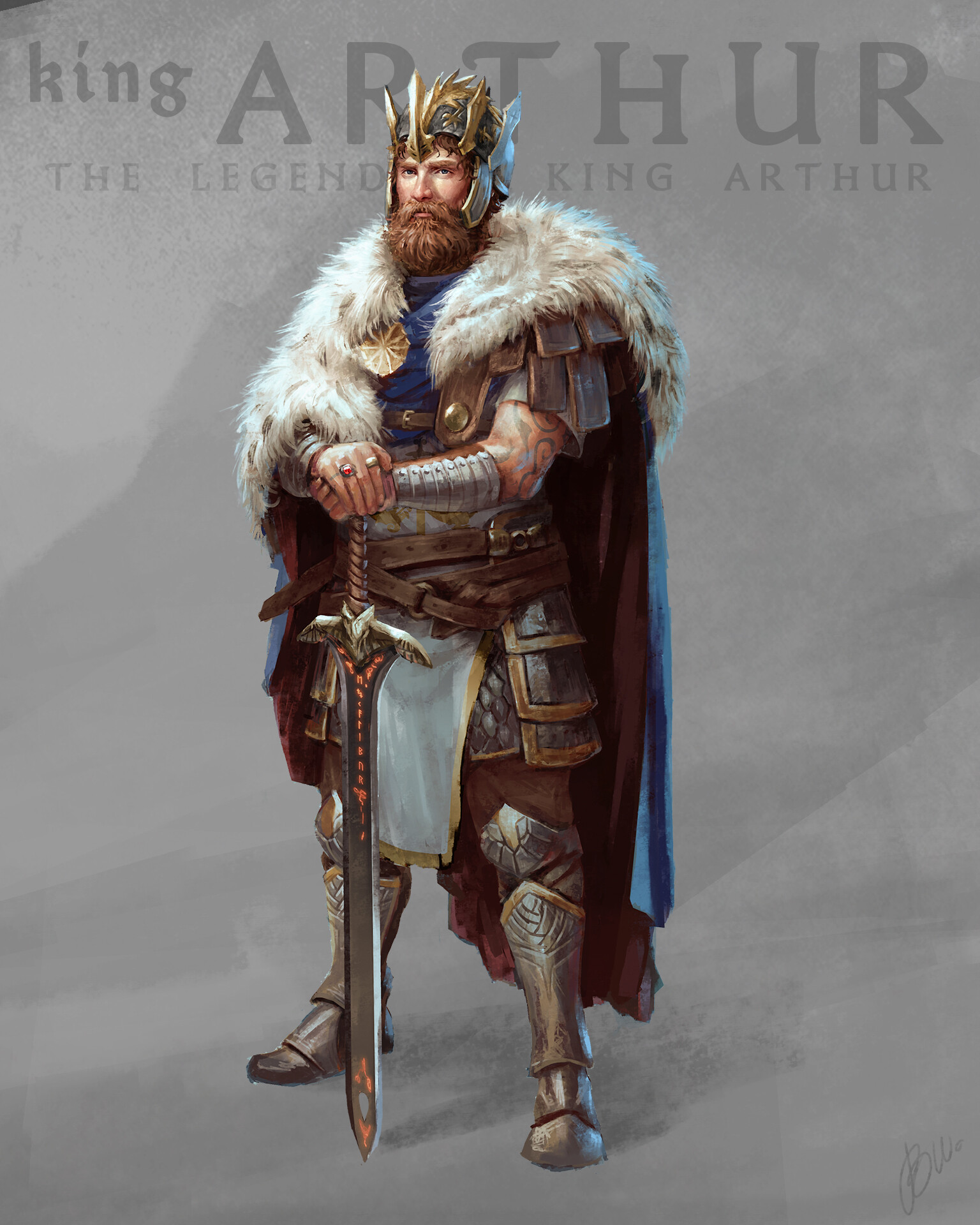 All grown up and with a couple of great fights under his belt, King Arthur now stands bold and wise.  Azure blue and gold are his traditional colors. Added white for purity, all colors are a bit linked to christian color meanings like the original story.