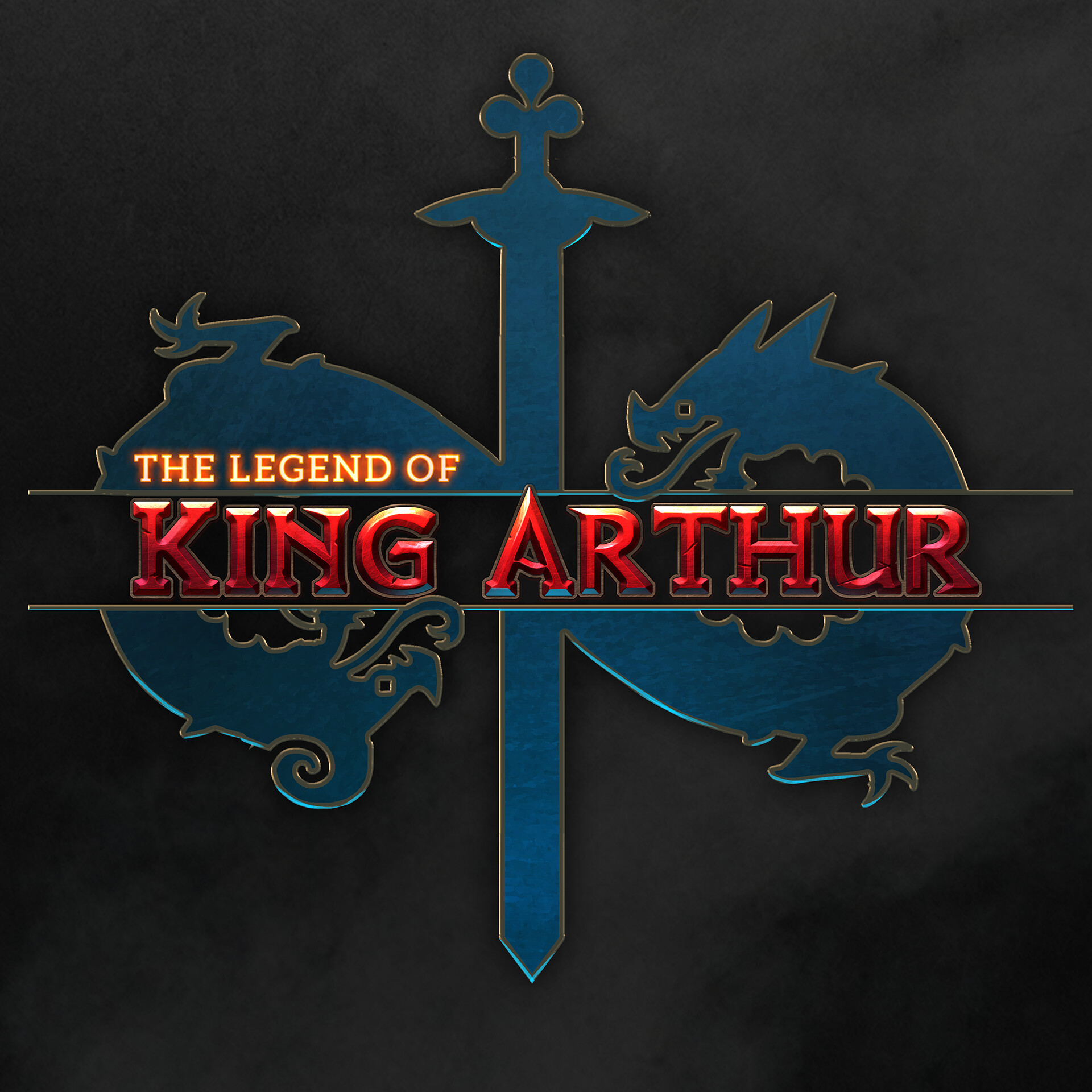 The title art using the sigil I designed for King Arthur inspired by fantasy game titles.
