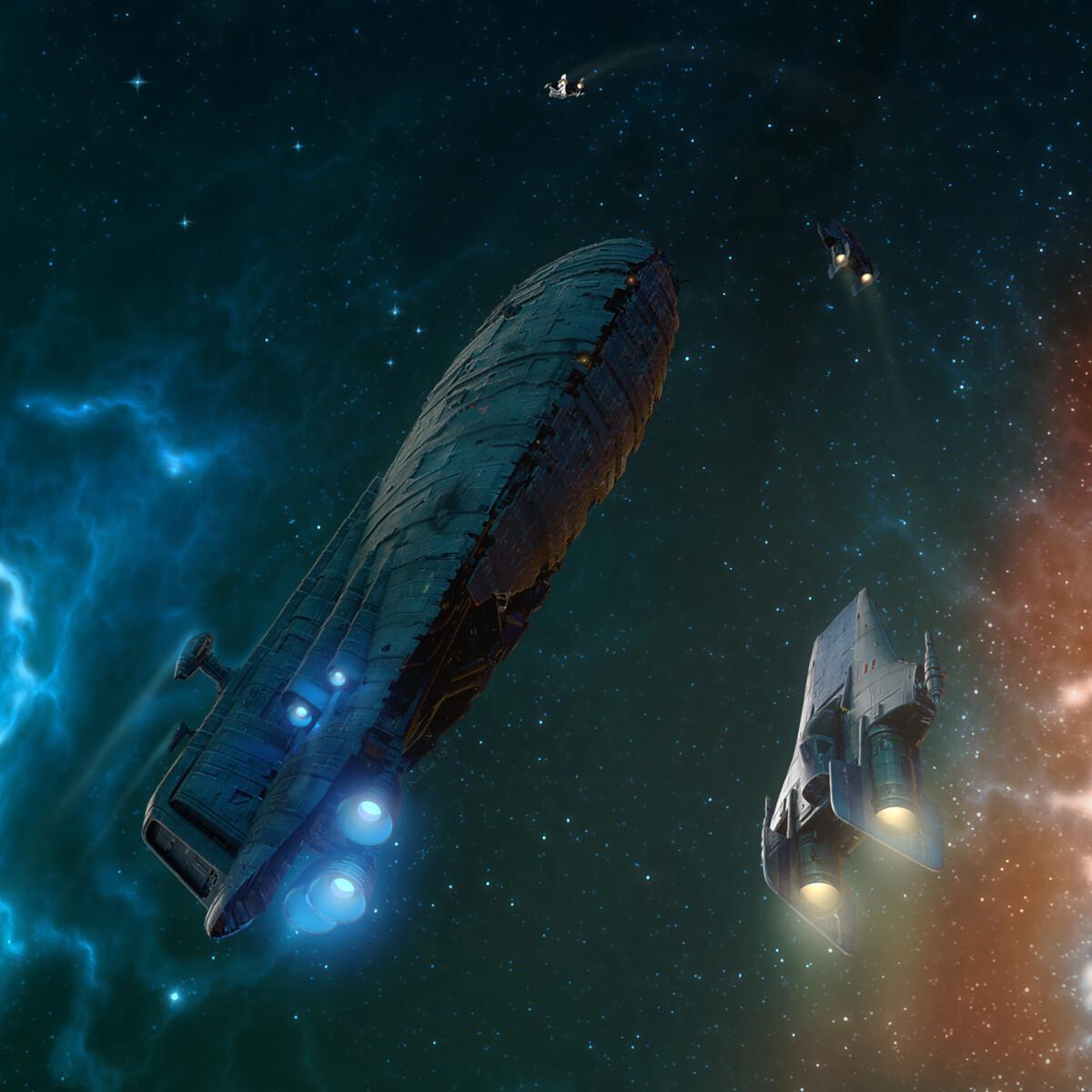 R-22 Spearheads escort a rebel transport through a nebula.
