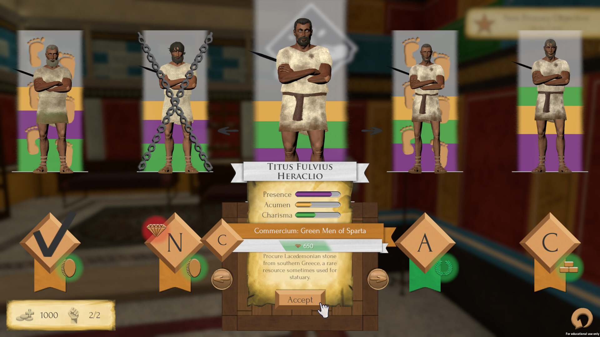 Throughout the game the player can gain clients, who they can send on missions for rewards and slaves, which bring in a passive income. This menu allows the player to manage them.