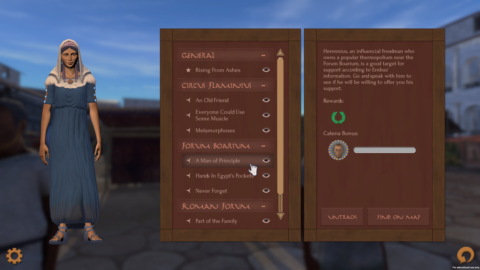 In the player's codex information about places, people, and events, they have encountered is collected, as well as current objectives. This is stylized as a wax tablet, common in the Roman empire as a portable and reusable writing surface.