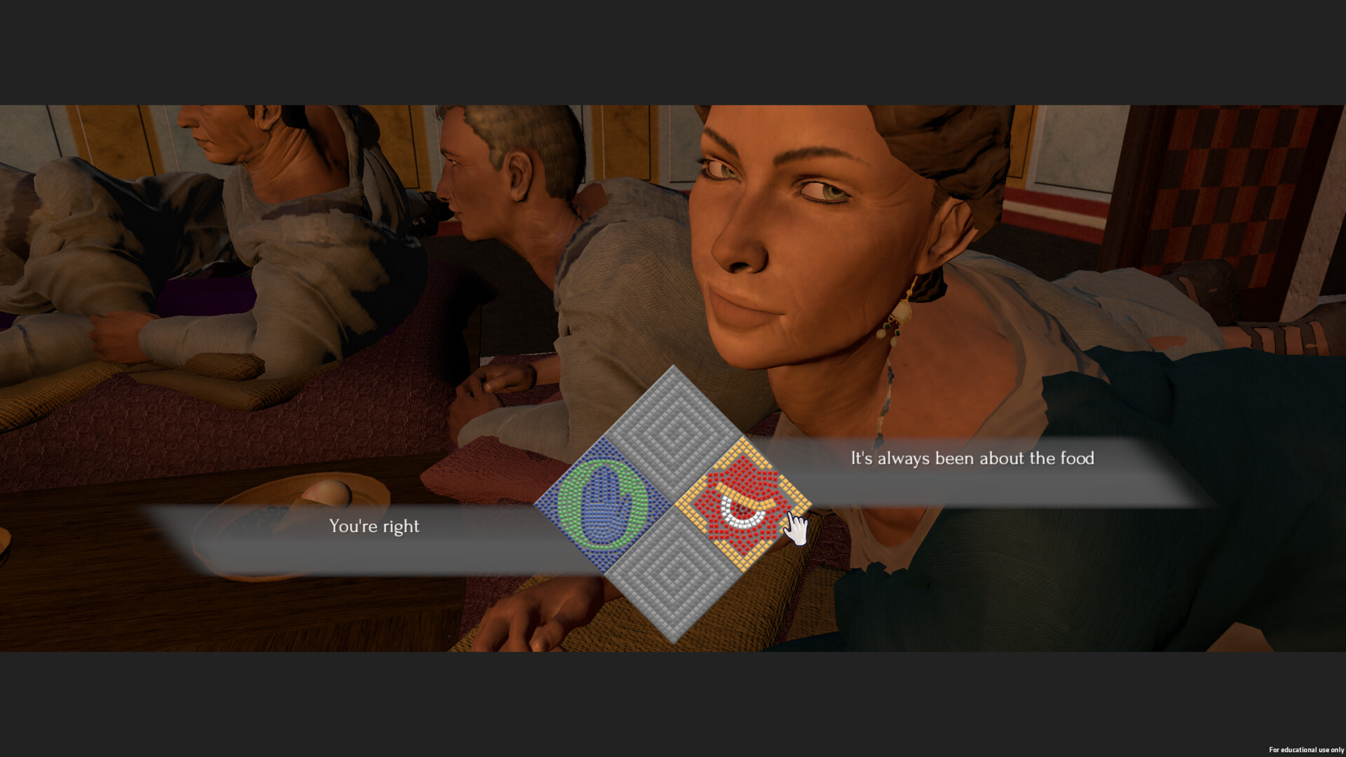 When players speak to characters they are presented different speech options with different emotional impacts. As pictured, these are coded with representative icons done in a mosaic style.