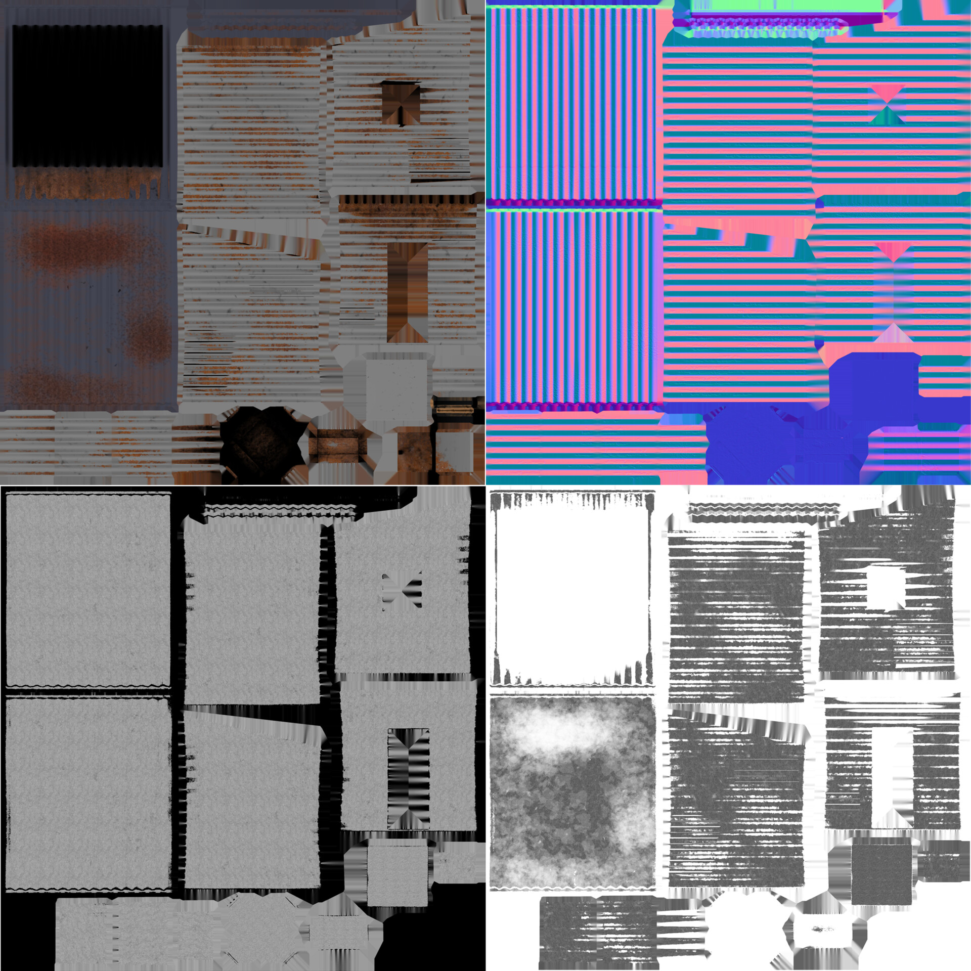 Shack albedo, normal, metal, and roughness maps (left to right)