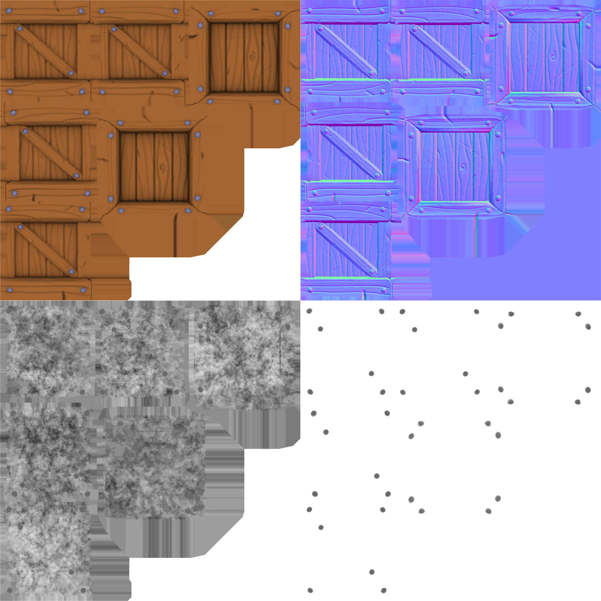 Crate albedo, normal, roughness, and metal maps (left to right)