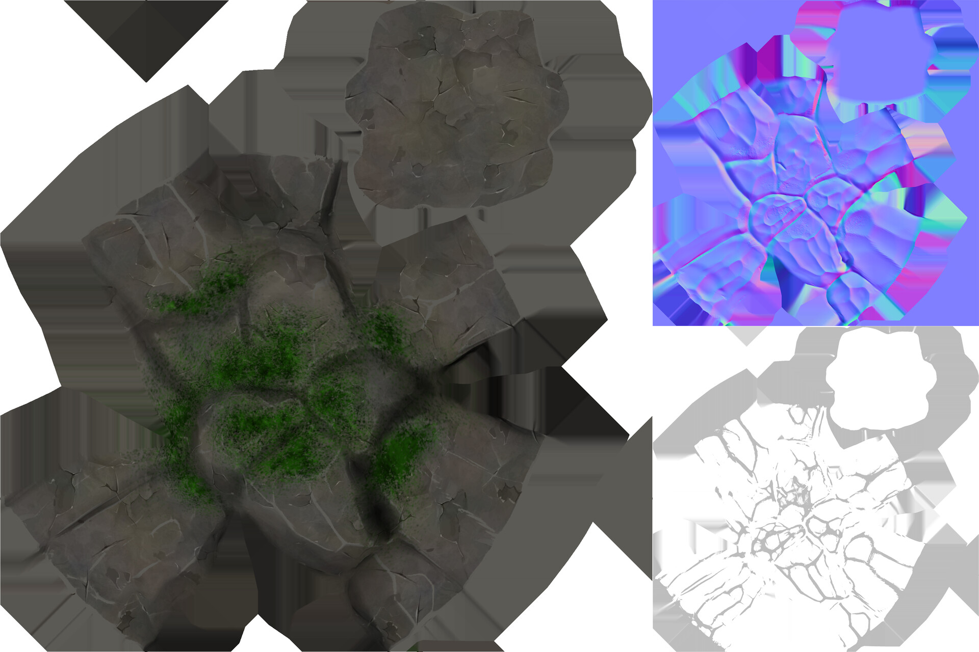 Large rock albedo, normal, and roughness maps.