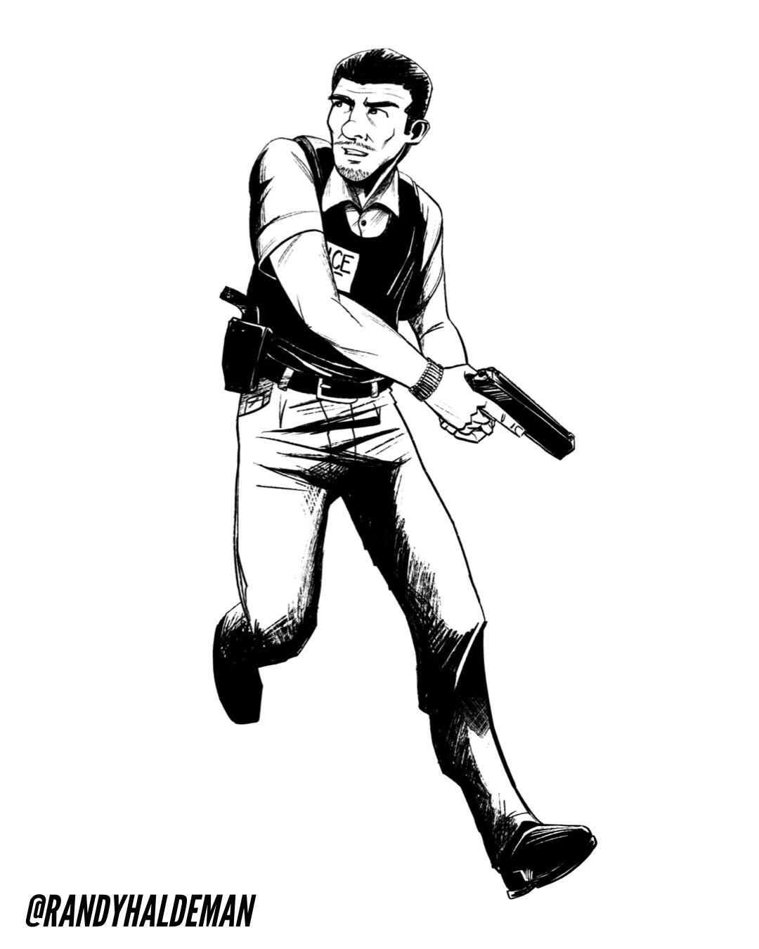 Agent Mejía inked sketch.