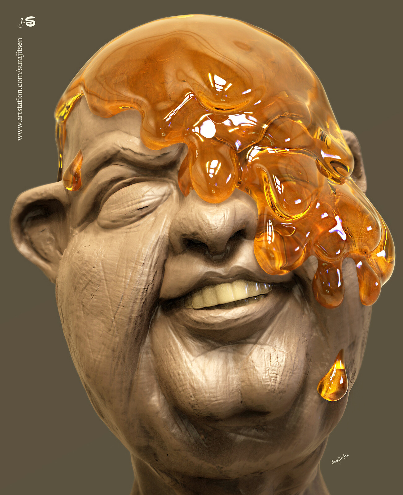 One of my speed Digital Sculptures....Honeytus.  Just played with brushes.  Background music - #hanszimmermusic