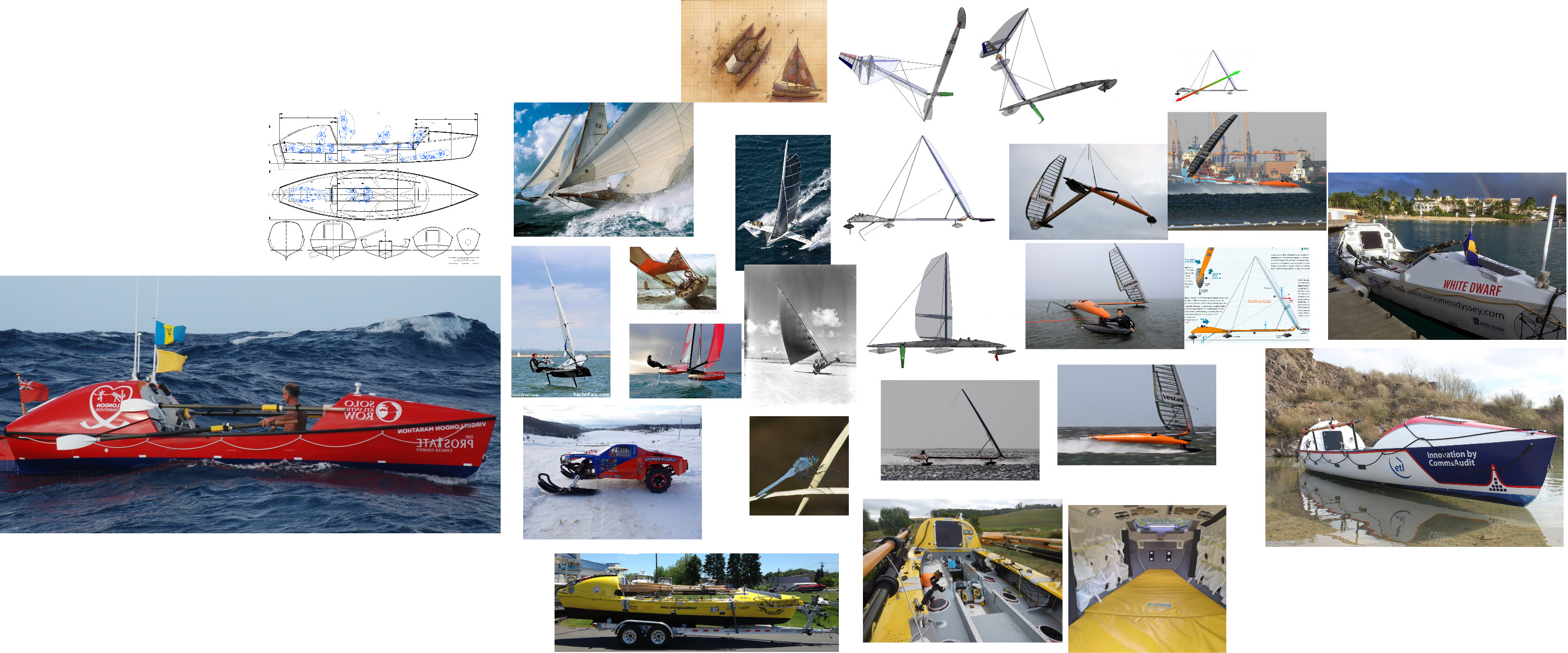 Original inspiration. The Pacific ocean rowboat design gave the main inspiration for the design and shape. The hydrofoil racer gave ideas for the wings.