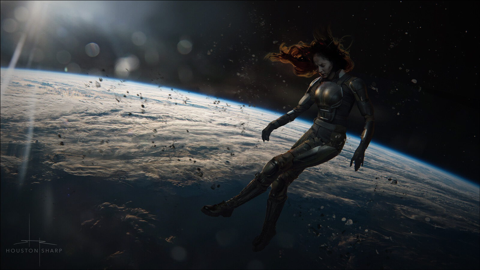 Jean Grey floating unconsciously through space
