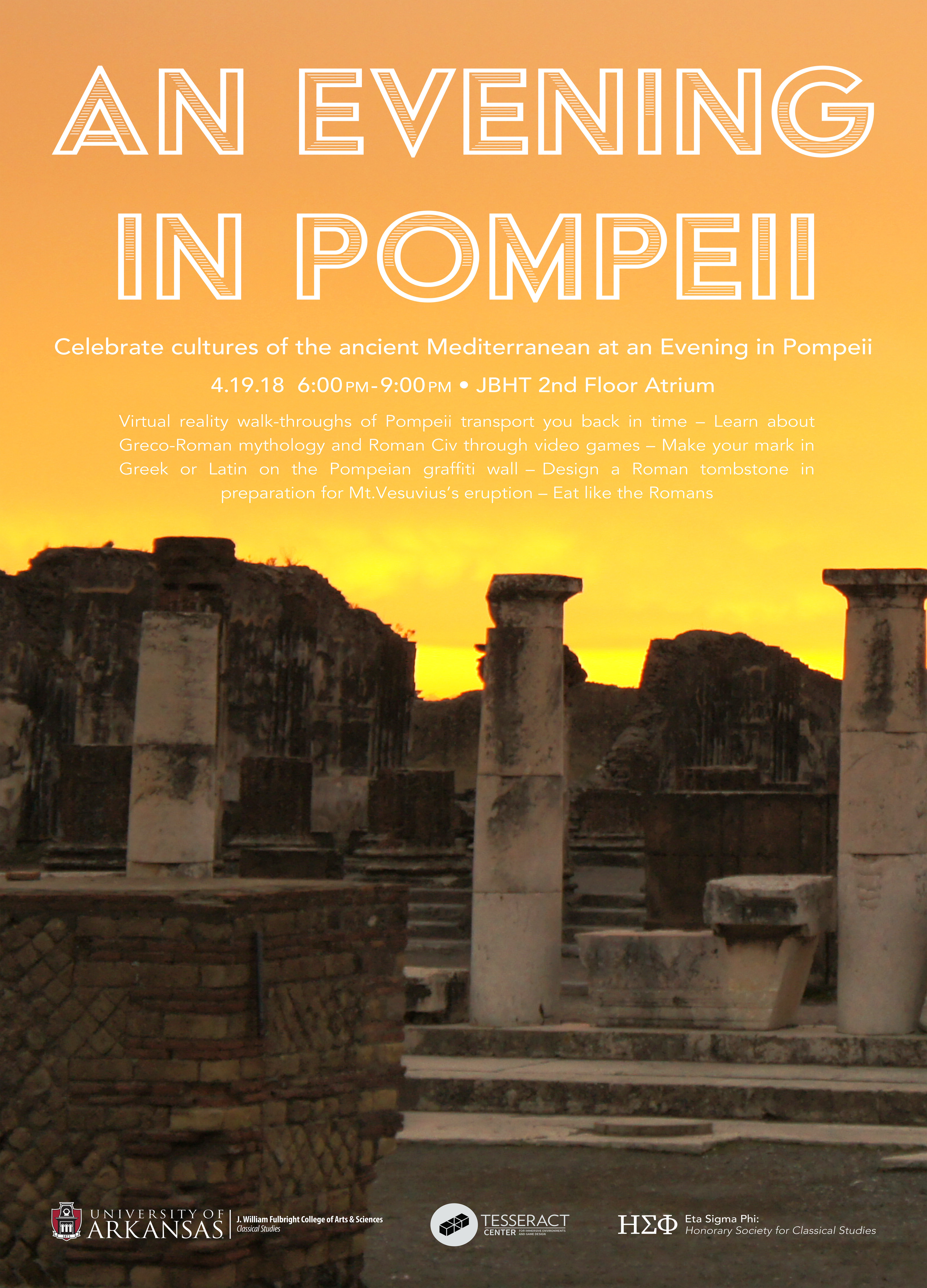 "Poster for ""An Evening in Pompeii"", an event the Tesseract center hosted with the UofA classics department."
