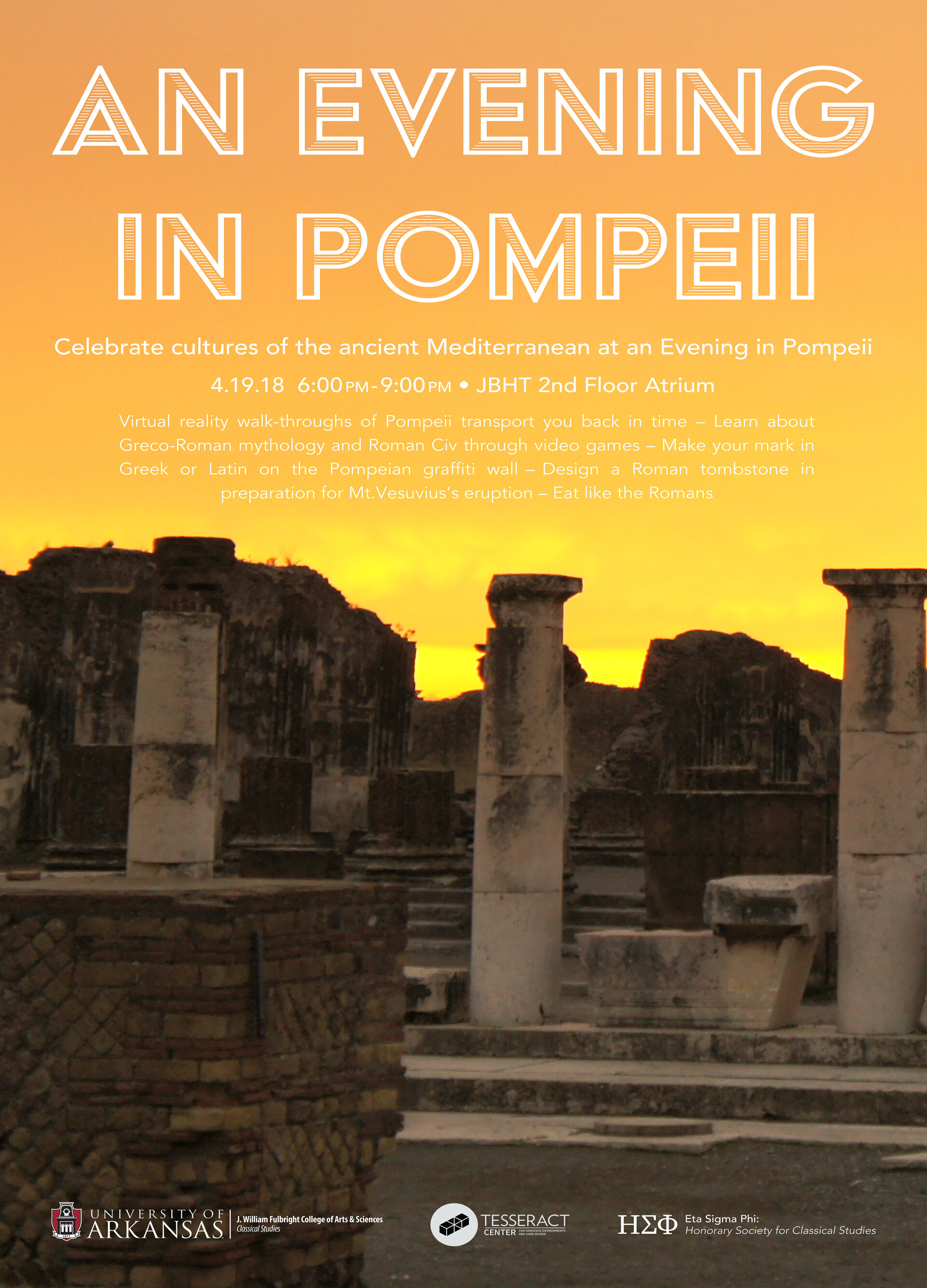 """Poster for """"An Evening in Pompeii"""", an event the Tesseract center hosted with the UofA classics department."""