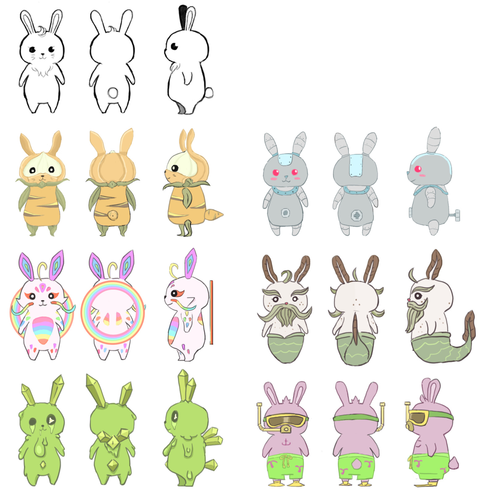 Collectible Bunnies concept.