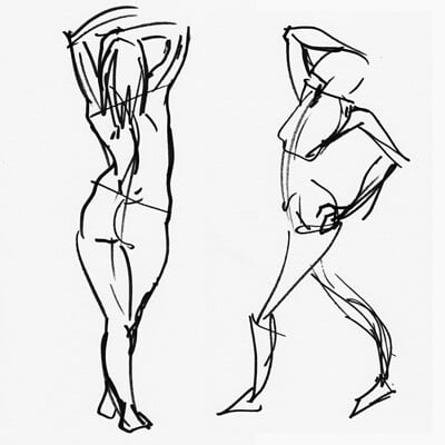 Jarien skywall 2019 03 24 life drawing jessica gestures 1 and 2 grayscale