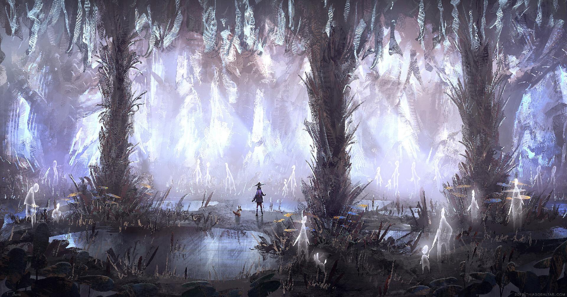 The forest of free souls  A maré estava cheia e foi preciso pegar um atalho pela antiga floresta das almas livres.  --  The tide was full and it was necessary to take a shortcut through the ancient forest of free souls.