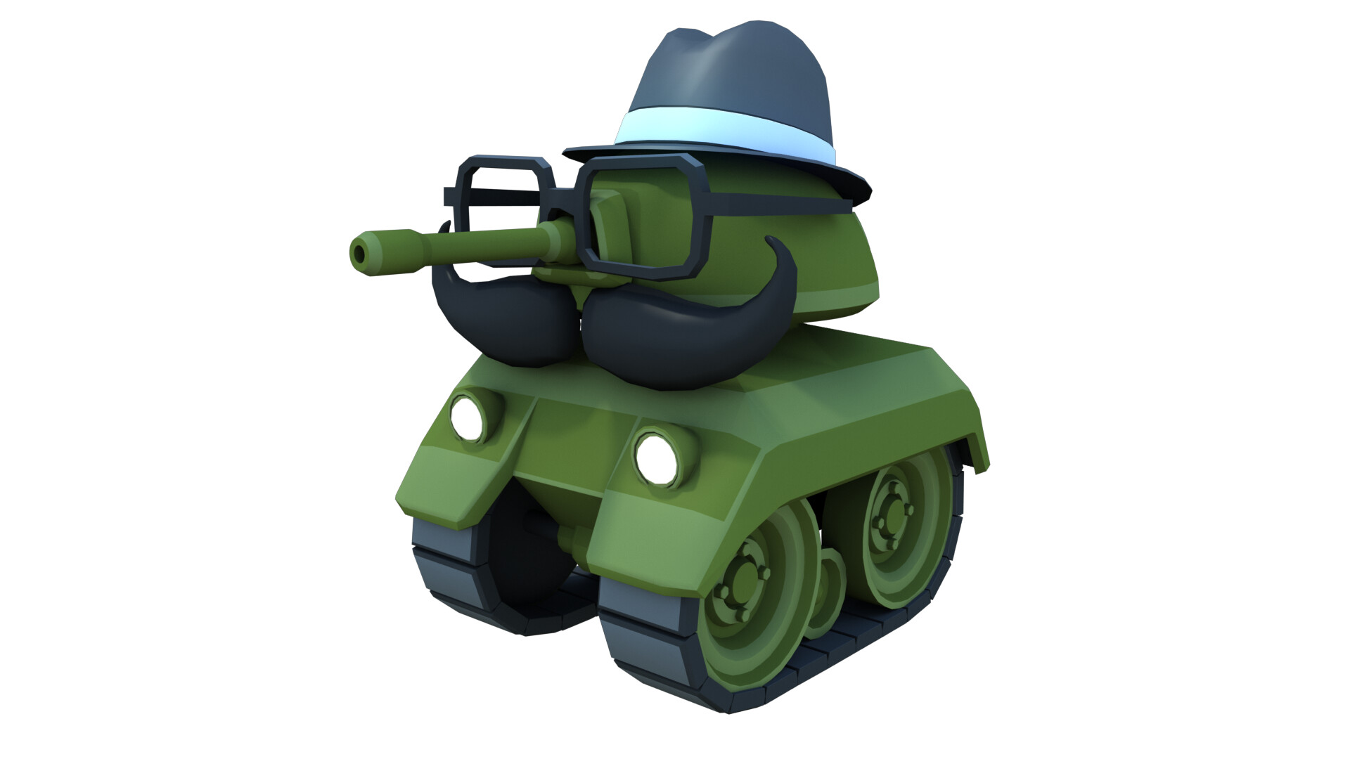"""The """"dome"""" tank modeling the """"Hipster Asset Pack"""". Modeling a mustache for a tank is one of the more unusual things I've done professionally.  Mesh reduced using Modo Texture created in Substance Designer UVed (and textured) in Modo Rendered in Modo"""