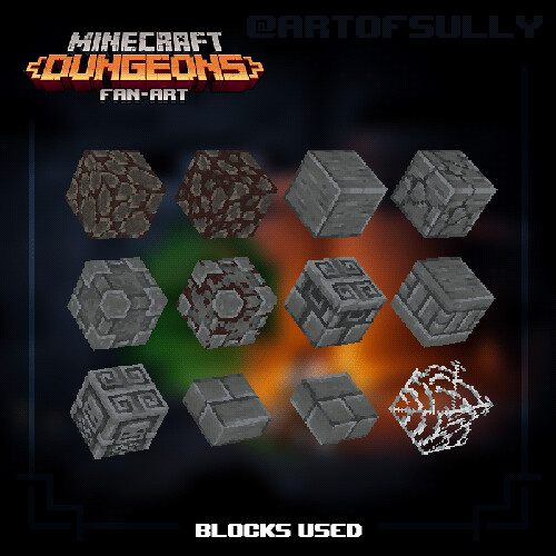 Minecraft Dungeons Fan-Art - Blocks Used