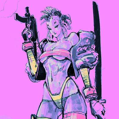 Atom cyber cyberpunk girls sketches color2