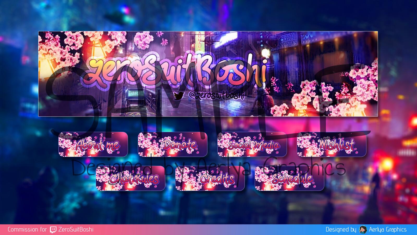 Custom header and panels for ZeroSuitBoshi on Twitch.