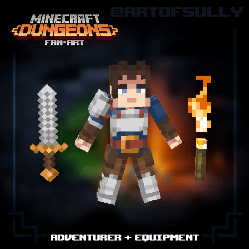 Minecraft Dungeons Fan-Art - Adventurer + Equipment