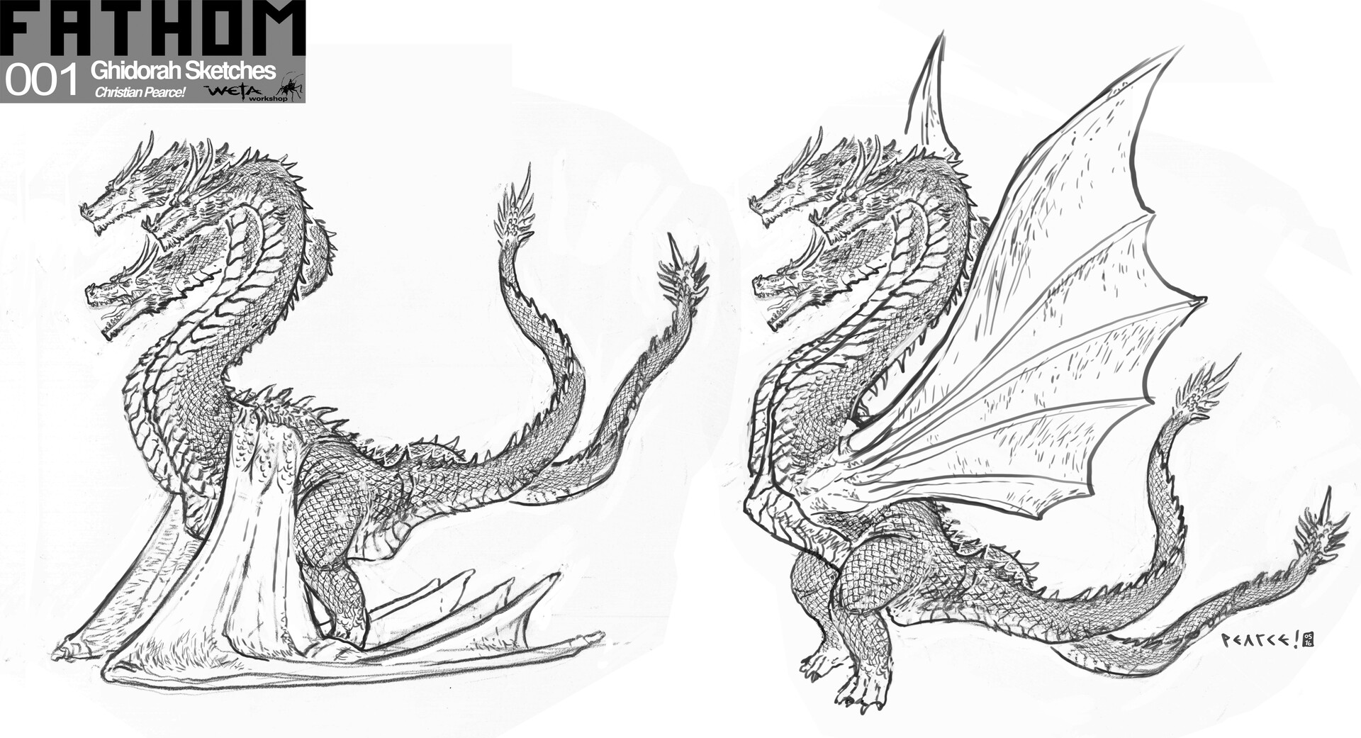 Ghidorah Sketches - Artist: Christian Pearce