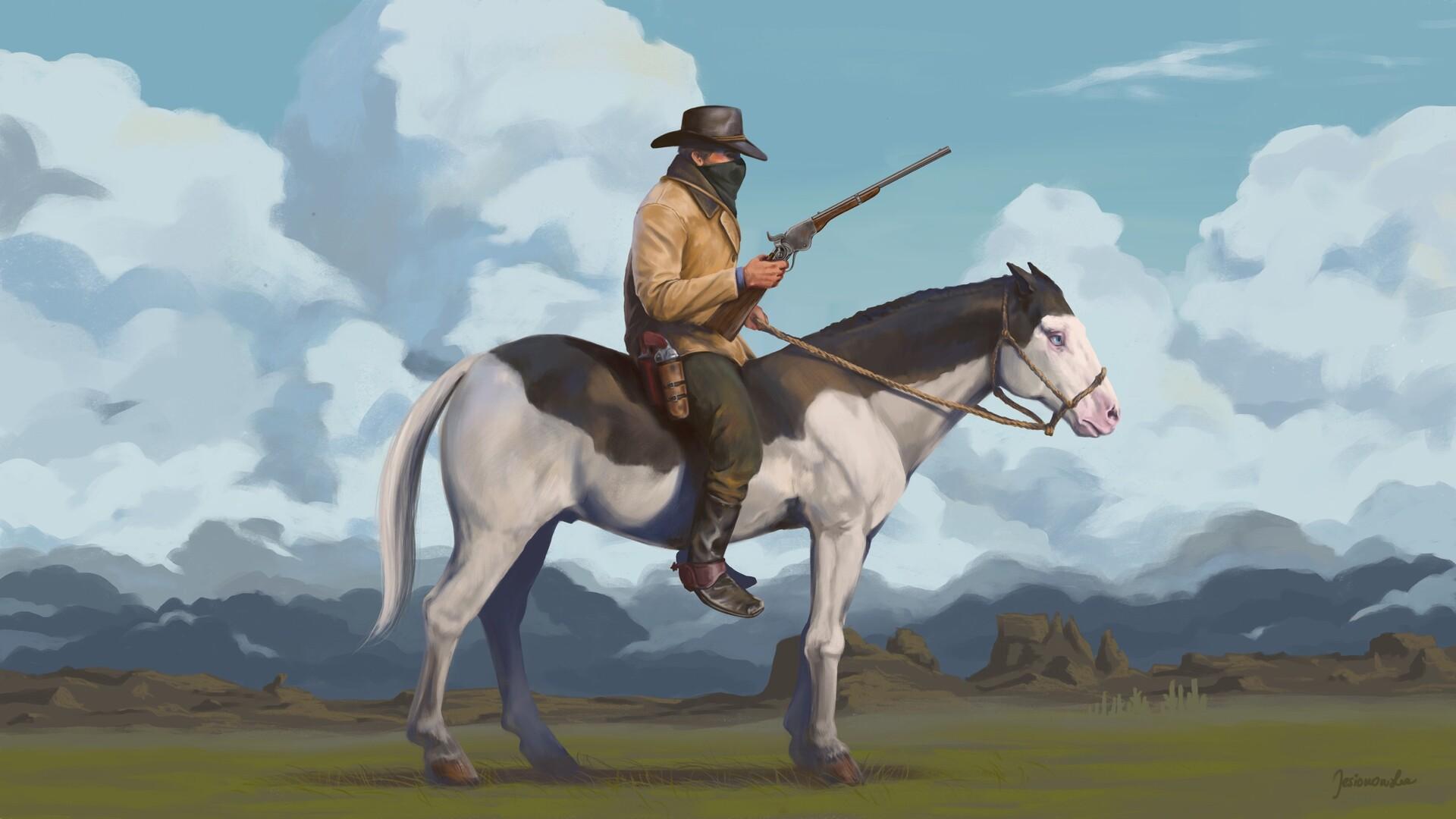 Artstation Outlaw Arthur Morgan On A Wild Horse Joanna Jesionowska