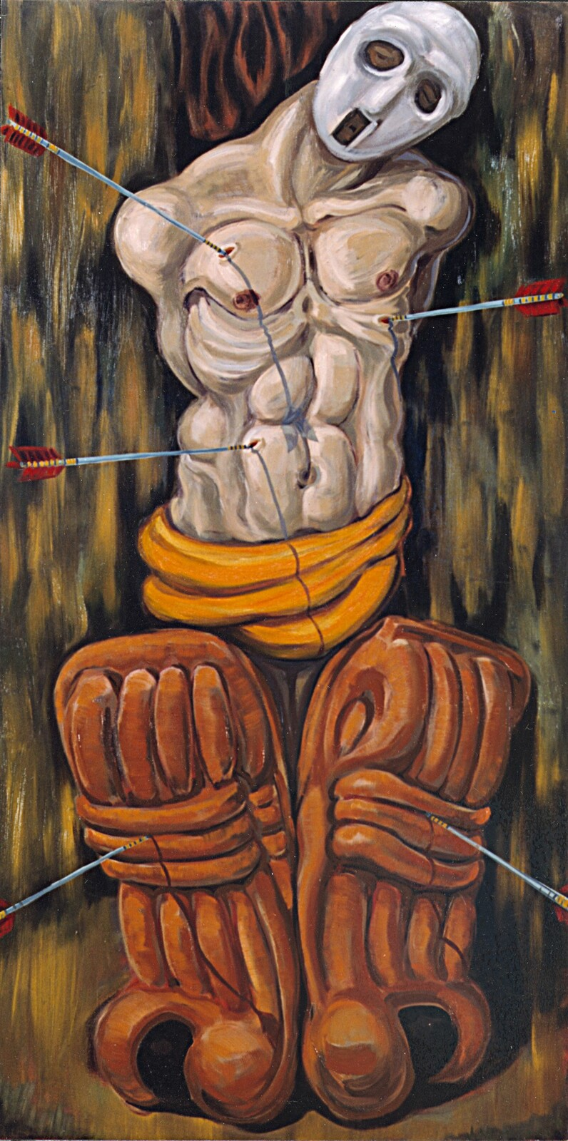 ST SEBASTIAN oil on canvas 6X3 feet, 1992, private collection.
