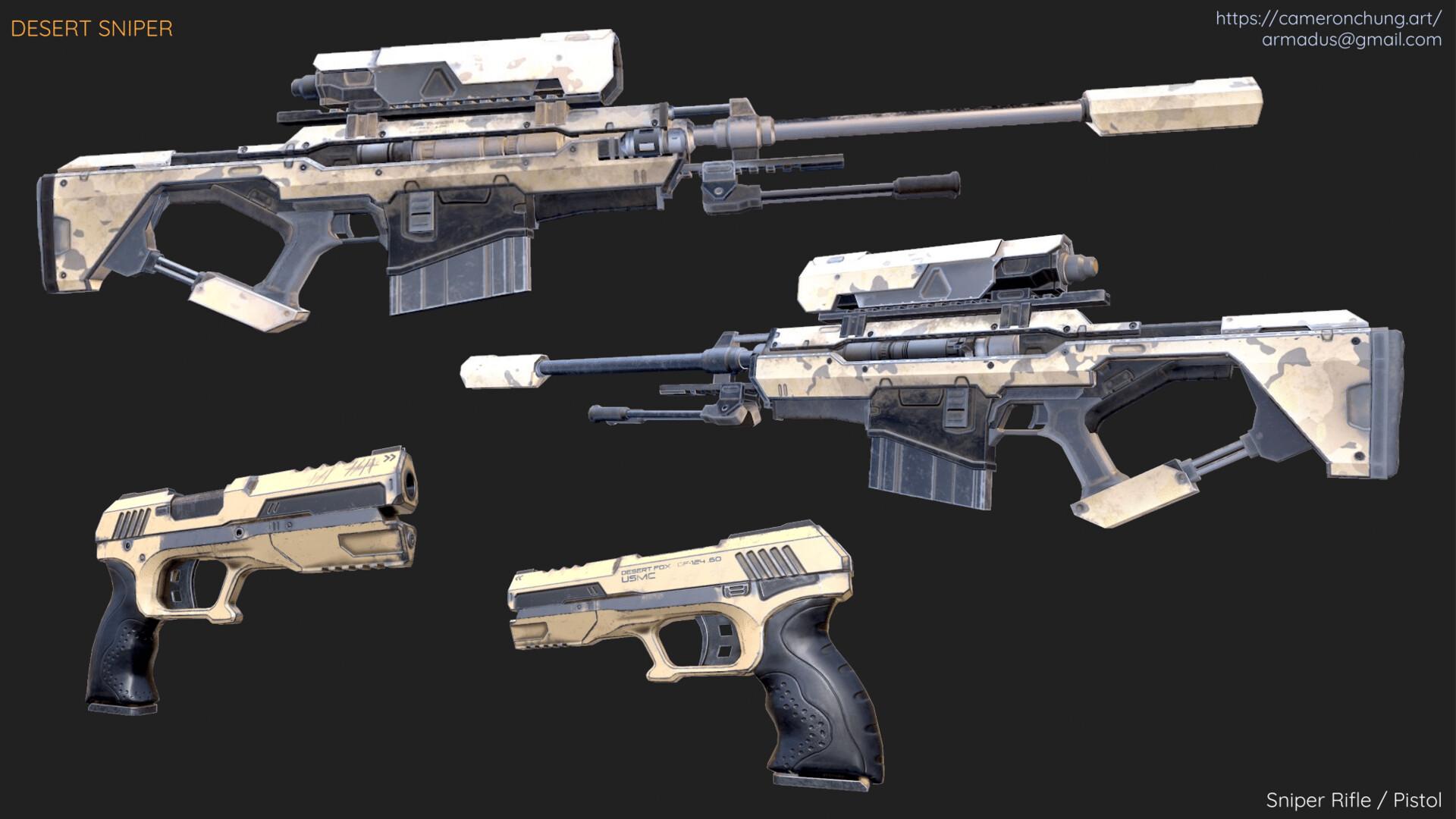 Sniper Rifle / Pistol - Marmoset Toolbag 2