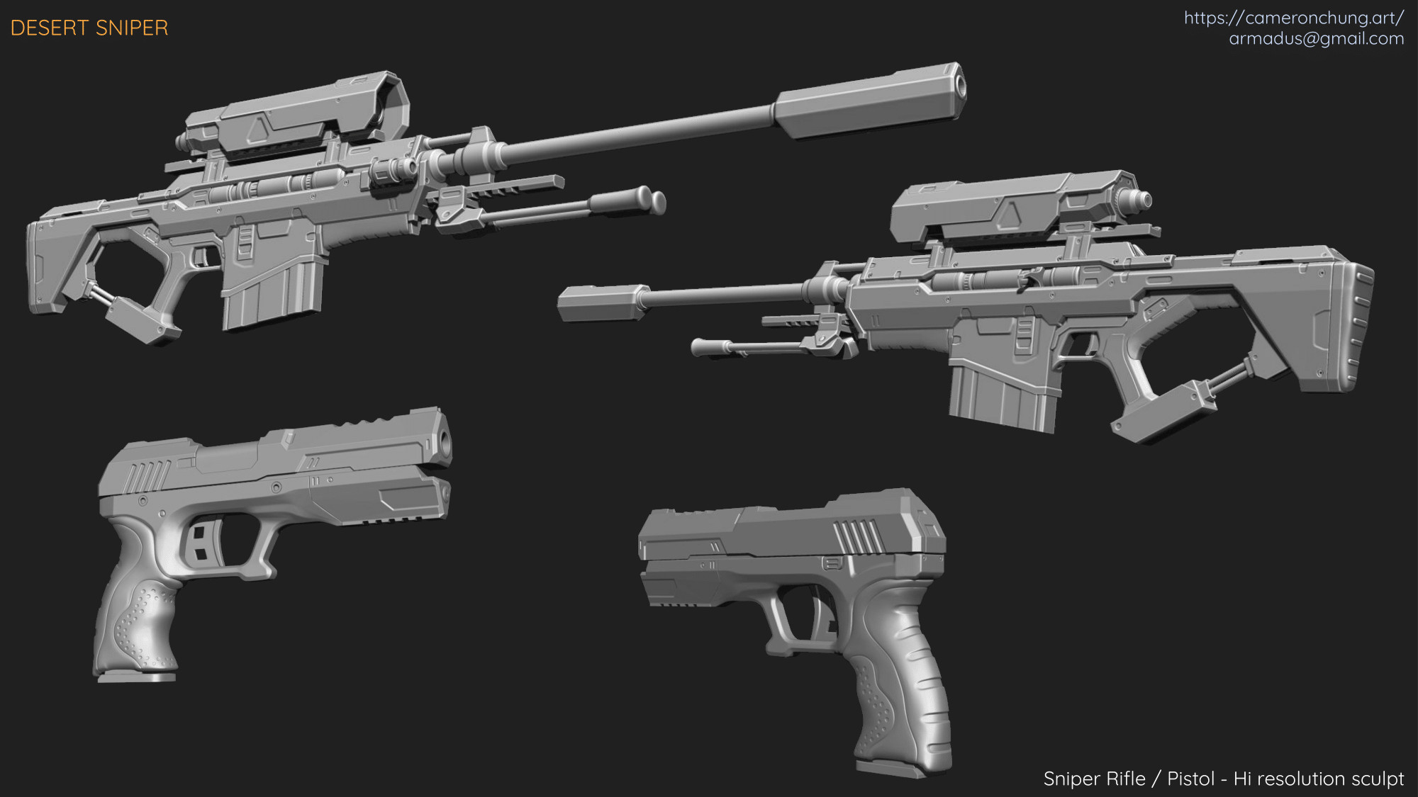 Sniper Rifle / Pistol - Zbrush - Hi resolution Sculpt