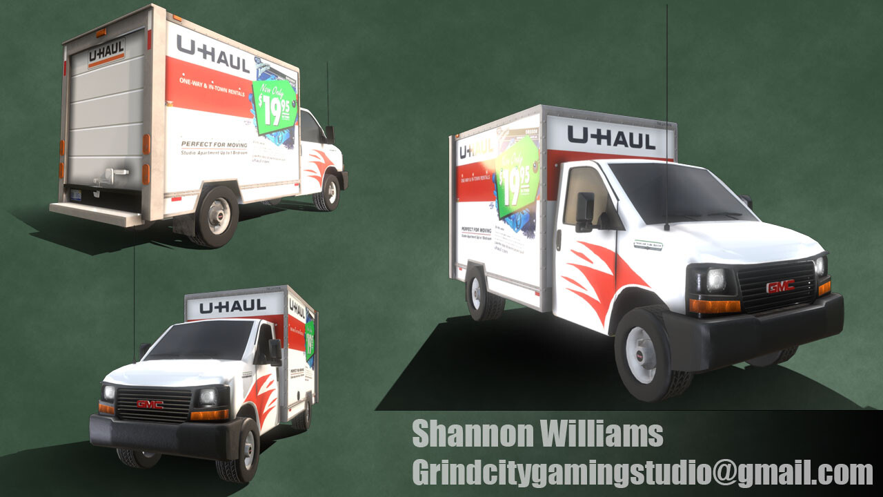 This is where the UHaul truck is in my third week. I went back through the object to tweak the UV's and went a different direction with the design. I was also able to get the SketchFab preview to work.