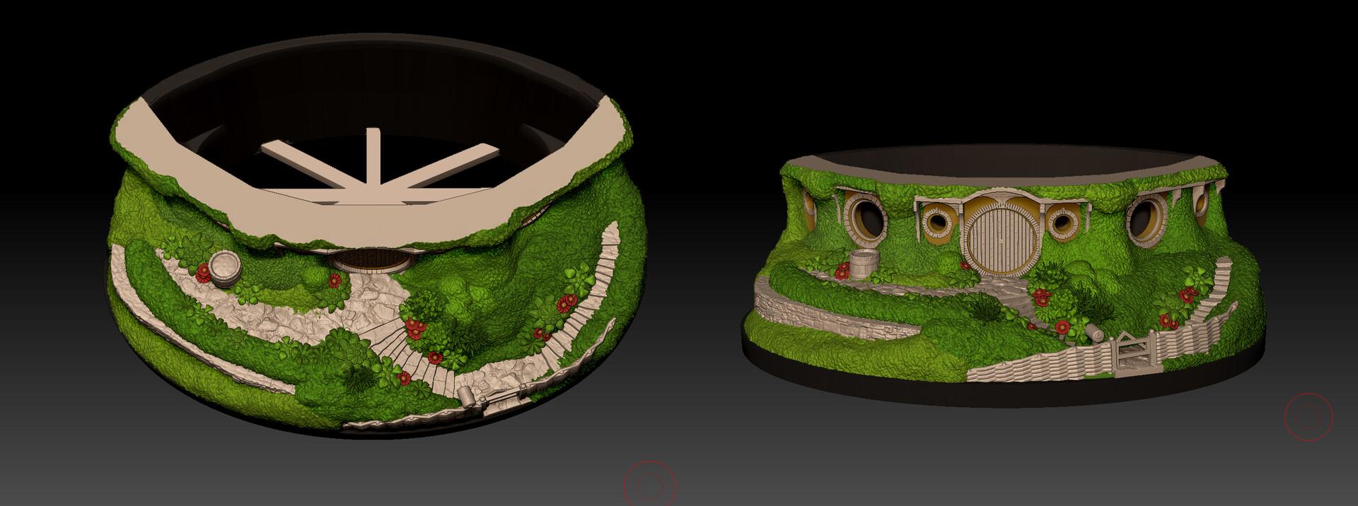 Artstation Bag End Hobbiton Bonsai Pot For 3d Printing Tomas Dotzauer