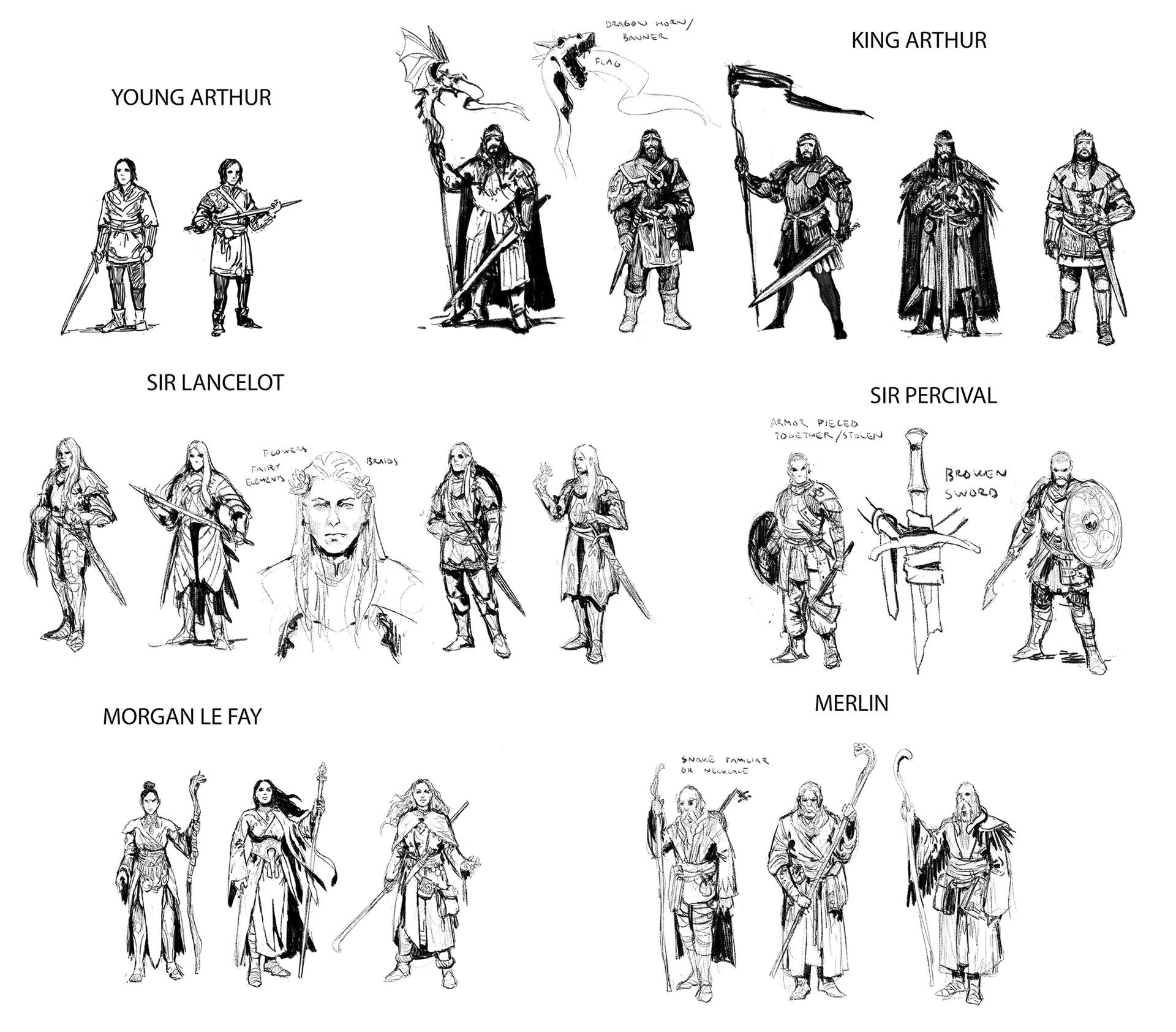 Veli nystrom artstation king arthur character sketches1