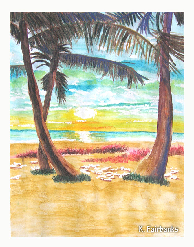 Watercolor painting of Palm Trees on Beach by K. Fairbanks