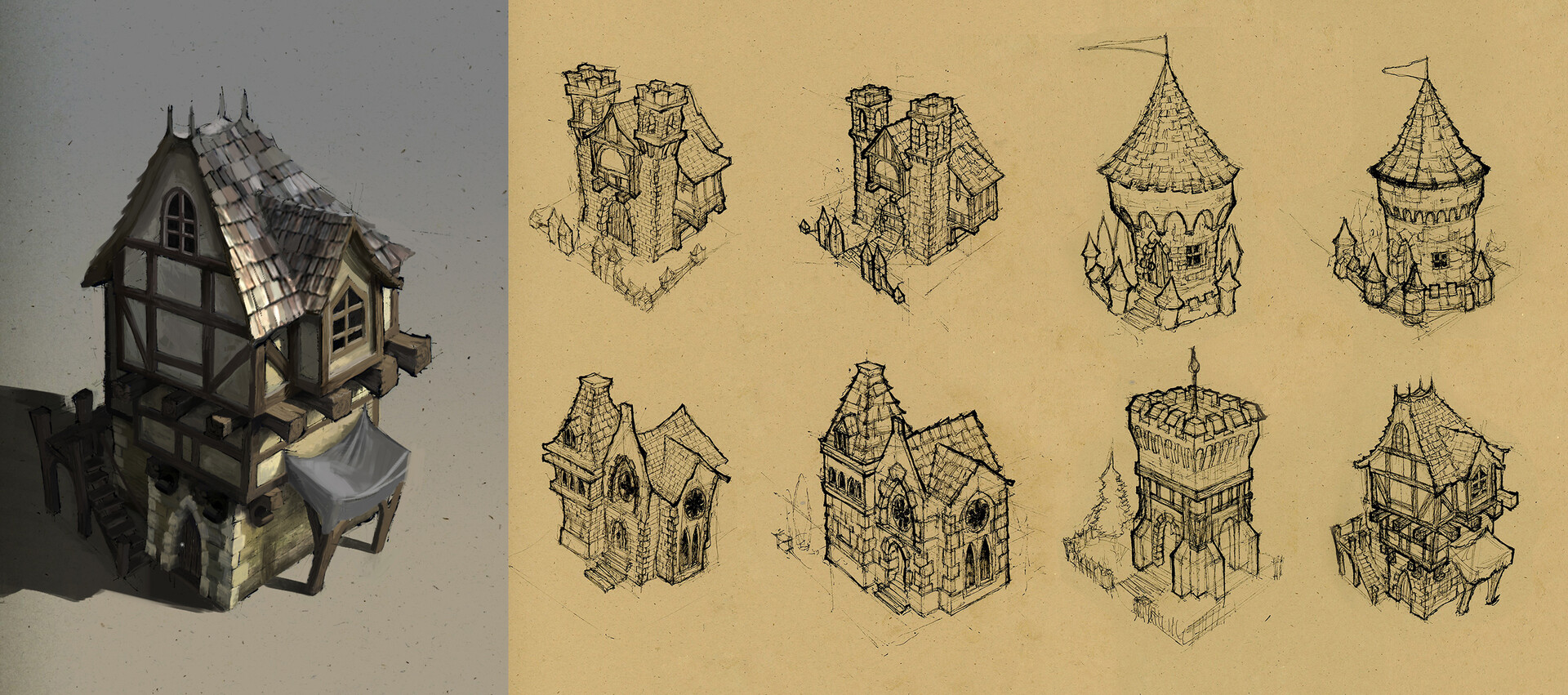 Environment Concept Sketches and Painting