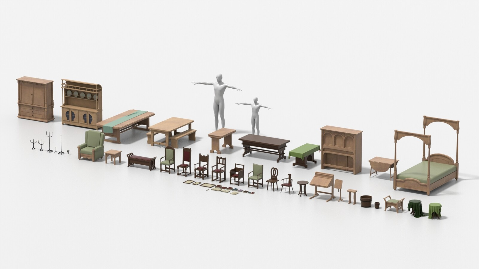 A collection of the props and furniture I built in Modo based on set images from the films.