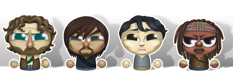 Walking Dead skin character roll: Rick Grimes, Daryl Dixon, Gleen Rhee and Michonne.