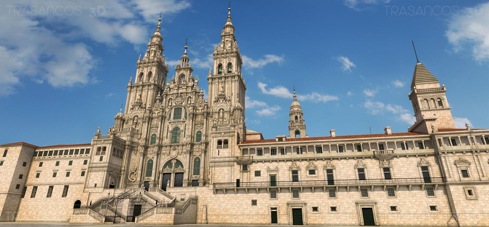 3D illustration. Exterior. Obradoiro facade of  the cathedral of Santiago de Compostela.