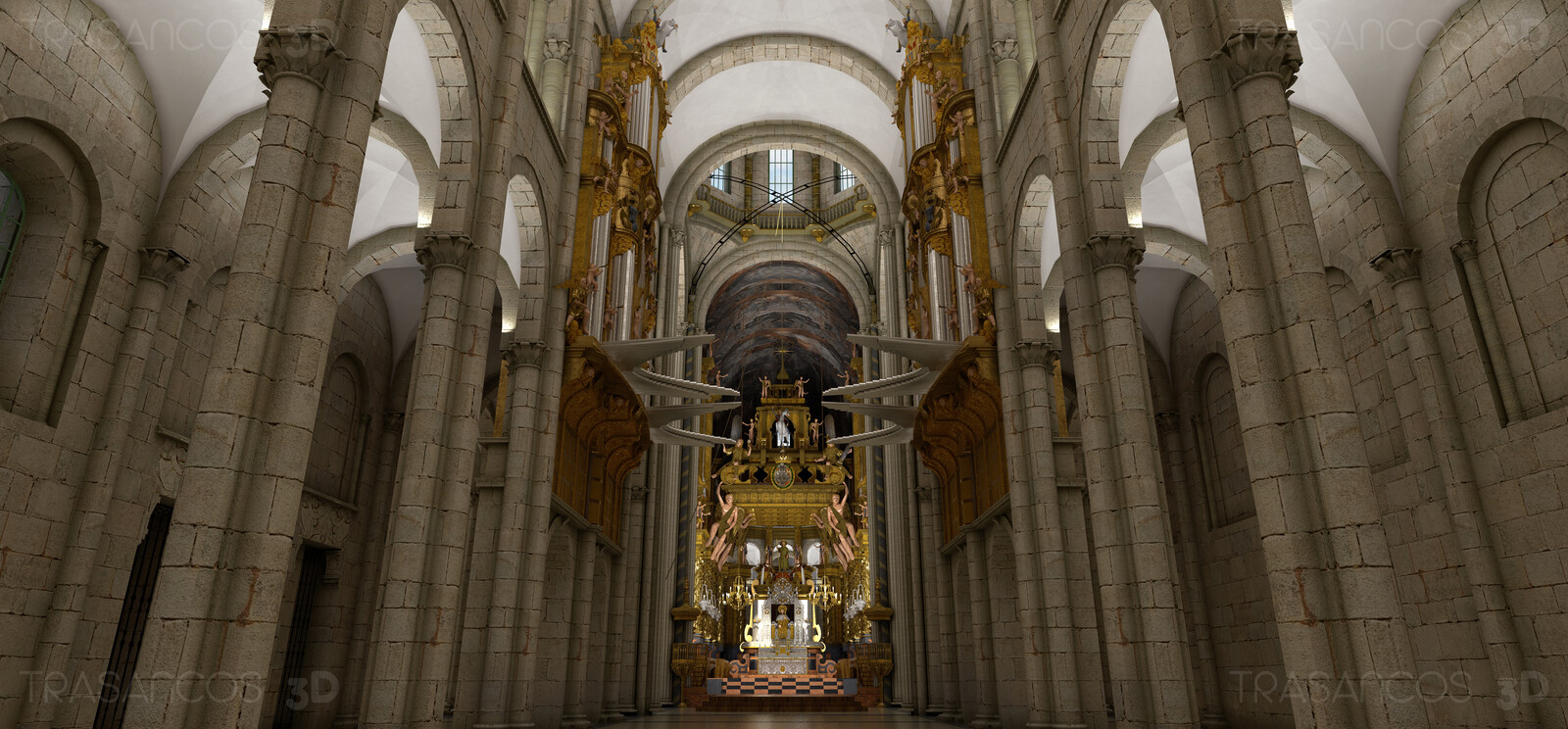 3D illustration. Interior. Main nave of the cathedral towards the main altar.