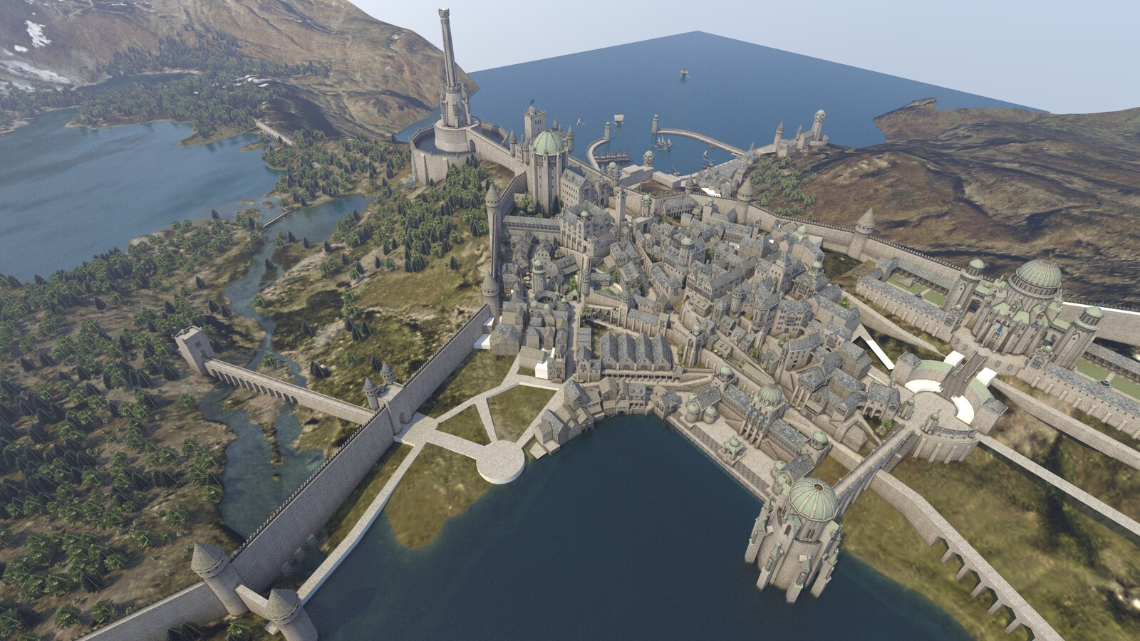 General view of the (unfinished) city with the port in the background.