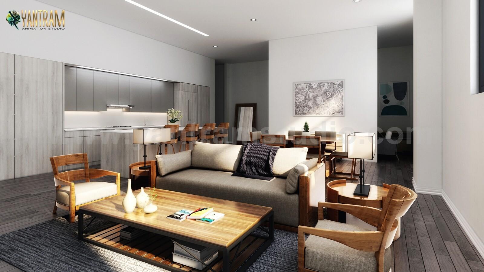 ArtStation   9D Interior for a Modern Living Kitchen Dining Room ...